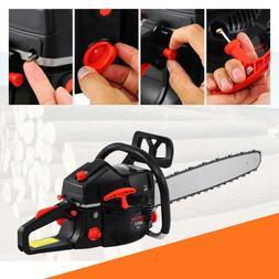 "52cc 22"" Bar Gas Powered Chainsaw Chain Saw Wood Cutting Alu"