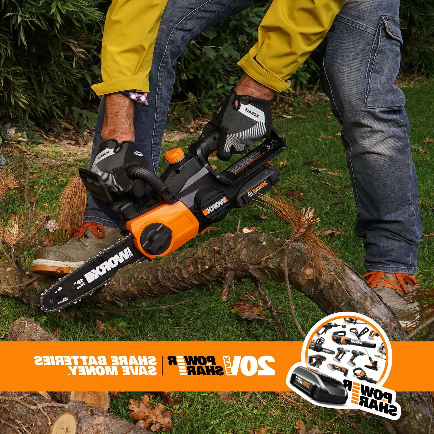 Cordless 20V Chainsaw Auto-Tension and Auto-Oiling Battery and